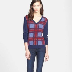 Equipment Femme Cecile Plaid V-neck Wool Sweater